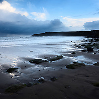 View to Lebberston Cliff from Cayton Bay at Dusk Scarborough North Yorkshire England