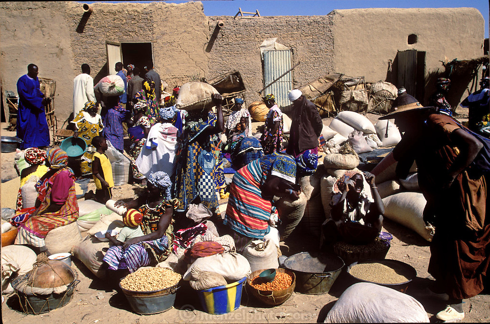 Soumana Natomo (far left, in blue) walks into the village market. (Supporting image from the project Hungry Planet: What the World Eats.) The Natomo family of Kouakourou, Mali, is one of the thirty families featured, with a weeks' worth of food, in the book Hungry Planet: What the World Eats. Grocery stores, supermarkets, and hyper and megamarkets all have their roots in village market areas where farmers and vendors would converge once or twice a week to sell their produce and goods. In farming communities, just about everyone had something to trade or sell. Small markets, like the one pictured here, are still the lifeblood of communities in the developing world.