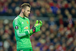 LIVERPOOL, ENGLAND - Thursday, March 10, 2016: Manchester United's goalkeeper David de Gea in action against Liverpool during the UEFA Europa League Round of 16 1st Leg match at Anfield. (Pic by David Rawcliffe/Propaganda)