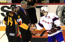 Best players of the game: Marco Sturm of Germany and Mats Trygg of Norway  at ice-hockey match Germany vs Norway (they have old replika jerseys from year 1966) at Preliminary Round (group C) of IIHF WC 2008 in Halifax, on May 07, 2008 in Metro Center, Halifax,Nova Scotia, Canada. Norway won 3:2. (Photo by Vid Ponikvar / Sportal Images)