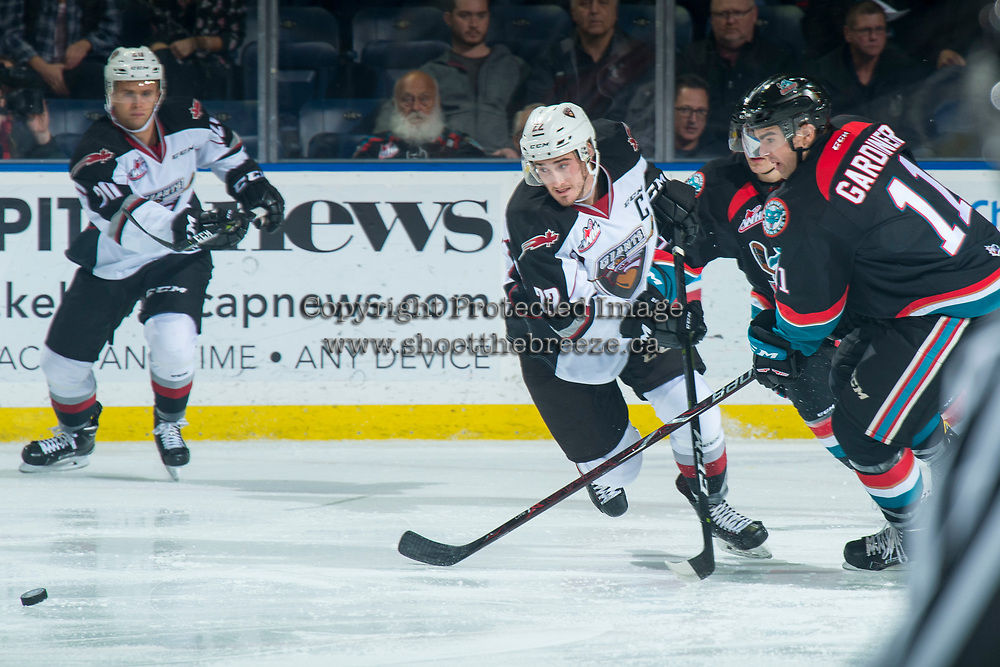 KELOWNA, CANADA - OCTOBER 3:  Jared Dmytriw #22 of the Vancouver Giants skates for the puck against the Kelowna Rockets on October 3, 2018 at Prospera Place in Kelowna, British Columbia, Canada.  (Photo by Marissa Baecker/Shoot the Breeze)  *** Local Caption ***