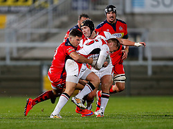 Ulster Ravens Full Back Jonny McPhillips is tackled by Bristol Rugby Inside Centre Ben Mosses (capt) - Mandatory byline: Rogan Thomson/JMP - 13/11/2015 - RUGBY UNION - Kingspan Stadium - Belfast, Northern Ireland - Ulster Ravens v Bristol Rugby - The British & Irish Cup Pool 2.