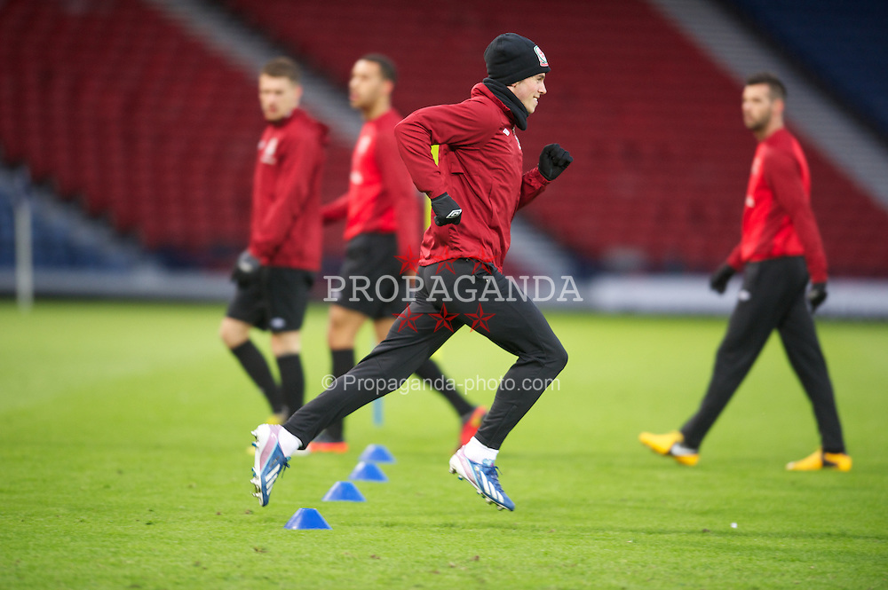 GLASGOW, SCOTLAND - Thursday, March 21, 2013: Wales' Gareth Bale during a training session at Hampden Park ahead of the 2014 FIFA World Cup Brazil Qualifying Group A match against Scotland. (Pic by David Rawcliffe/Propaganda)