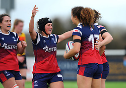 Lucy Atwood of Bristol Bears Women celebrates her try with team mates - Mandatory by-line: Nizaam Jones/JMP - 23/03/2019 - RUGBY - Shaftesbury Park - Bristol, England - Bristol Bears Women v Richmond Women- Tyrrells Premier 15s