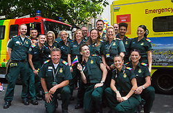 London, July 8th 2017. Thousands of LGBT+ revellers take part in the annual Pride in London parade under the banner #LoveHappensHere. PICTURED: Paramedics from the London Ambulance Service sporting rainbow epaulettes pose for a picture.