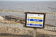 Notice about coastal defence structure at East Lane, Bawdsey, Suffolk, England