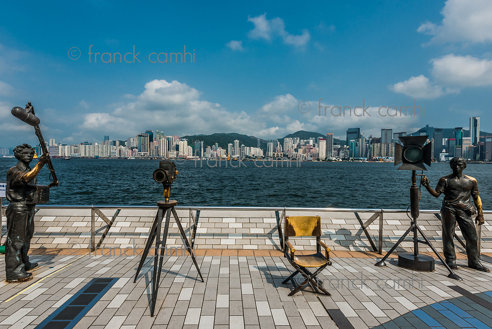 Kowloon, Hong Kong ,China - June 9, 2014 : statues Avenue of Stars Tsim Sha Tsui Kowloon in Hong Kong