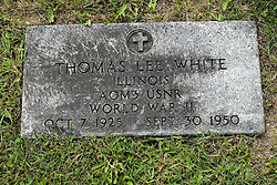 31 August 2017:   Veterans graves in Park Hill Cemetery in eastern McLean County.<br /> <br /> Thomas Lee White  Illinois AOM3 USNR  World War II  Oct 7 1925  Sept 30 1950