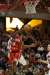 11 February 2006:  .Tony Bennett comes in for a reverse lay up..Illinois State Redbirds fall to the Bradley Braves at home in Redbird Arena in Normal Illinois.