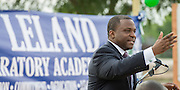 Principal Dameion Crook comments during groundbreaking ceremonies for the Mickey Leland College Preparatory Academy, April 16, 2015.