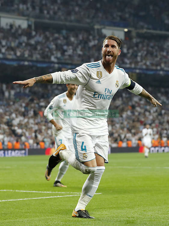 (L-R) Cristiano Ronaldo of Real Madrid, Sergio Ramos of Real Madrid during the UEFA Champions League group H match between Real Madrid and APOEL FC on September 13, 2017 at the Santiago Bernabeu stadium in Madrid, Spain.