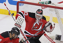 May 3, 2012; Newark, NJ, USA;  New Jersey Devils goalie Martin Brodeur (30) makes a save during the second period in game three of the 2012 Eastern Conference semifinals at the Prudential Center.