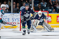 KELOWNA, CANADA - APRIL 3: Jerret Smith #2 stands in front of net minder Taran Kozun #35 of the Seattle Thunderbirds on April 3, 2014 during Game 1 of the second round of WHL Playoffs at Prospera Place in Kelowna, British Columbia, Canada.   (Photo by Marissa Baecker/Getty Images)  *** Local Caption *** Jerret Smith; Taran Kozun;