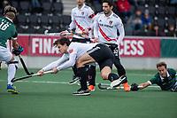 AMSTELVEEN -   Boris Burkhardt (Adam) scoort    ,tijdens de hoofdklasse hockeywedstrijd Amsterdam-HC Rotterdam (7-1).    COPYRIGHT KOEN SUYK