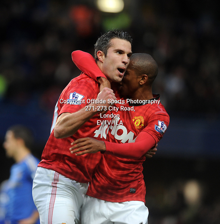 28/10/2012 - Barclays Premier League Football - 2012-2013 - Chelsea v Manchester United - Robin Van Persie Celebrates with Ashley Young after he scores the second goal of the game fo United. - Photo: Charlie Crowhurst / Offside.