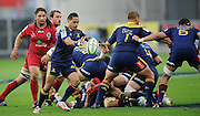 Aaron smith in action for the highlanders. Investec Super Rugby - Highlanders v Reds 27 February 2015, Forsyth Barr Stadium, Dunedin, New Zealand. Photo: New Zealand. Photo: Richard Hood/www.photosport.co.nz
