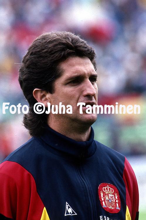 FIFA World Cup - Italia 1990<br /> 13.6.1990, Stadio Friuli, Udine.<br /> Group E, Uruguay v Spain<br /> Chendo - Spain<br /> Full name: Miguel Porl&aacute;n Noguera