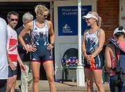 """Henley on Thames, United Kingdom, 3rd July 2018, Saturday,  """"Henley Royal Regatta"""",  Leander Club Olympians, Rowers after Leander 200 year row past, Left Mark HUNTER, Centre Victoria (Vicky) THORNLEY, Right Katie GREVES, View, Henley Reach, River Thames, Thames Valley, England, UK."""