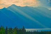 Kluane Lake. Kluane Ranges, the easternmost of the St Elias Mountains. <br />Kluane National Park<br />Yukon<br />Canada