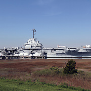USS Yorktown, Aircraft carrier, Patriots Point, Mount Pleasant, SC, USA. the ship is docked on the Cooper River in Charleston Harbor, SC.