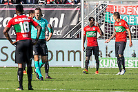 NIJMEGEN - NEC - Vitesse , Voetbal , Eredivisie , Seizoen 2016/2017 , Stadion de Goffert , 23-10-2016 , NEC Nijmegen speler Janio Bikel (2e r) geeft zijn feedback aan NEC Nijmegen speler Wojciech Golla (r) dat hij moet opletten na de 0-1 tegen