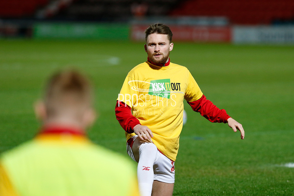 Alfie May of Doncaster Rovers wearing a Kick It Out Tshirt  before the EFL Sky Bet League 1 match between Doncaster Rovers and Bristol Rovers at the Keepmoat Stadium, Doncaster, England on 26 March 2019.