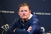 Apr 23, 2019; Thousand Oaks, CA, USA; Los Angeles Rams general manager Les Snead addresses the media at a press conference at Cal Lutheran University prior to the 2019 NFL Draft.