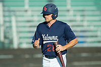 KELOWNA, BC - JULY 24: Austen Butler #28 of the Kelowna Falcons walks to the dugout against the Yakima Valley Pippins at Elks Stadium on July 24, 2019 in Kelowna, Canada. (Photo by Marissa Baecker/Shoot the Breeze)