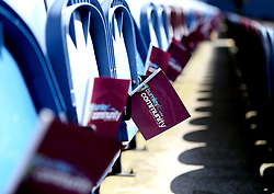Burnley flags are left on the seats at Turf Moor ahead of the Premier League fixture with Manchester United - Mandatory by-line: Robbie Stephenson/JMP - 23/04/2017 - FOOTBALL - Turf Moor - Burnley, England - Burnley v Manchester United - Premier League