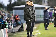 Forest Green Rovers assistant manager, Scott Lindsey and Forest Green Rovers manager, Mark Cooper discuss tactics during the EFL Sky Bet League 2 match between Forest Green Rovers and Cheltenham Town at the New Lawn, Forest Green, United Kingdom on 25 November 2017. Photo by Shane Healey.