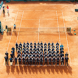 13.03.2010, Monte Carlo, Monaco, MON, ATP Monte Carlo Rolex Masters im Bild The line judges and officials line up on centre court at the ATP Masters Series Monte-Carlo at the Monte-Carlo Country Club. (Photo by David Rawcliffe/Propaganda) / SPORTIDA PHOTO AGENCY