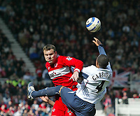 Photo: Andrew Unwin.<br />Middlesbrough v West Ham United. The Barclays Premiership. 17/04/2006.<br />Middlesbrough's Mark Viduka (L) competes with West Ham's Danny Gabbidon (R).