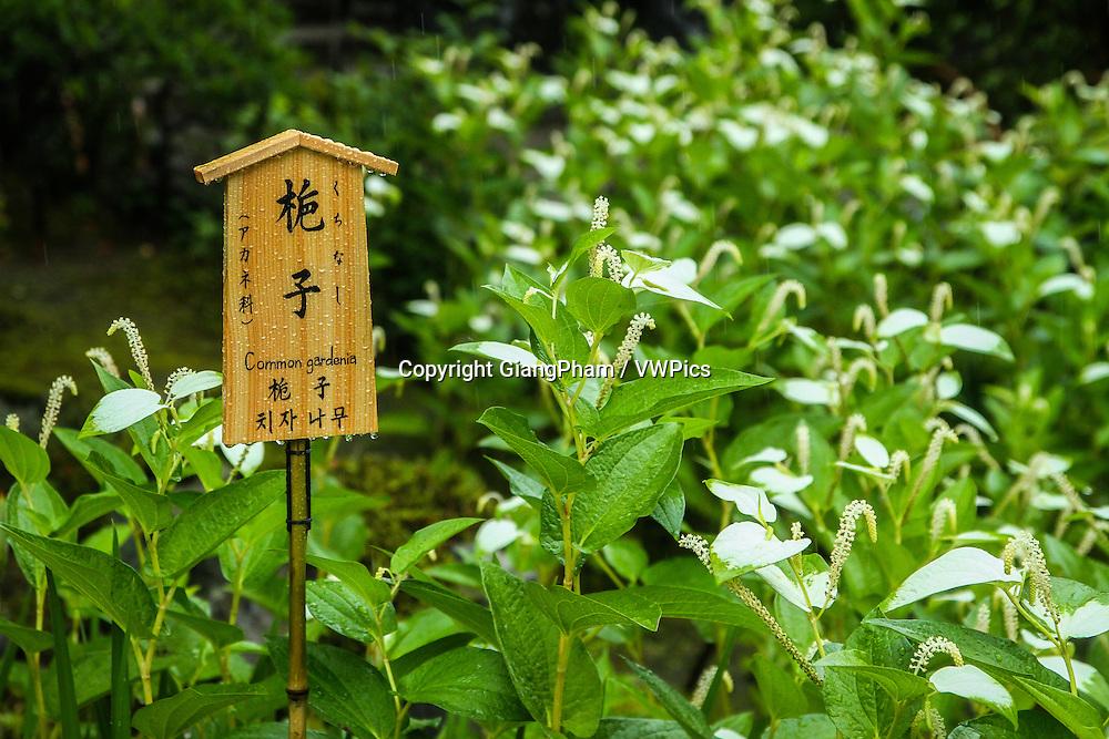A signal in Zen Garden in Kyoto Prefectures, Japan