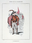 Paris Commune 26 March-28 May 1871.  Commune types: Le Garibaldien dressed in a red shirt in honour of the Italian nationalist.