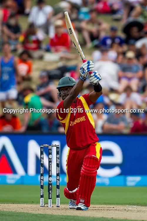 Zimbabwe's Chamu Chibhabha batting during the ICC Cricket World Cup match - South Africa v Zimbabwe at Seddon Park, Hamilton, New Zealand on Sunday 15 February 2015.  Photo:  Bruce Lim / www.photosport.co.nz