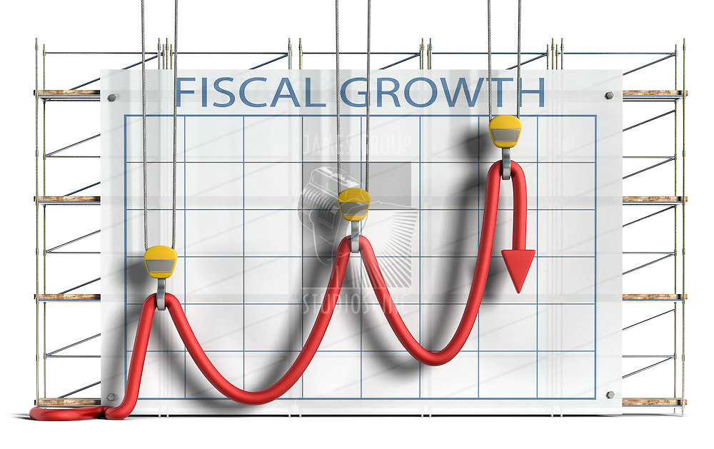 Business concept showing construction equipment attempting to hold a limp chart line into what appears to be an upward trend against a chart and scaffolding background.