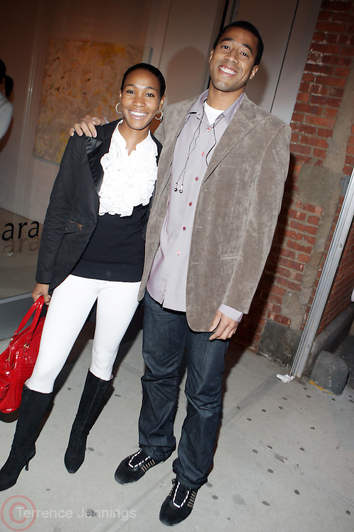 l to r: Teri Johnson and Marvin Scott at The American Black Film Festival New York Buzz Party Sponsored by New York Women in Film & Television hosted by Tsia Moses on April 30, 2009 held at Sundaram Tagore Gallery in NYC.