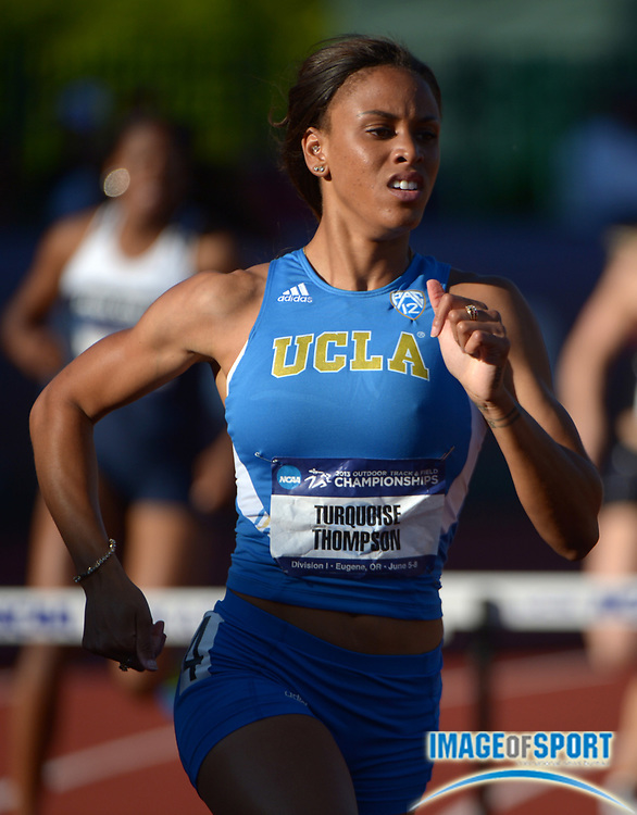 Jun 5, 2013; Eugene,  OR, USA; Turquoise Thompson of UCLA wins womens 400m hurdles heat in 56.60 in the 2013 NCAA Championships at Hayward Field.