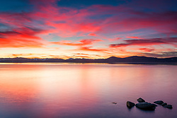"""Tahoe Boulders at Sunset 9"" - These boulders were photographed at sunset along the East Shore of Lake Tahoe."