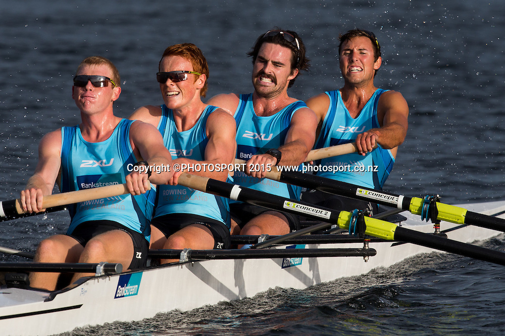 Men's Coxless Four Anthony Allen, Alex Bardoul,<br /> Bobby Kells, Finn Howard at the Rowing NZ Media Day, Lake Karapiro, Cambridge, New Zealand, Wednesday 6 May 2015. Photo: Stephen Barker/Photosport.co.nz