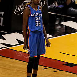 Jun 21, 2012; Miami, FL, USA;Oklahoma City Thunder small forward Kevin Durant (35) reacts against the Miami Heat during the fourth quarter in game five in the 2012 NBA Finals at the American Airlines Arena. Mandatory Credit: Derick E. Hingle-US PRESSWIRE