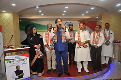November 3, 2018 - Kolkata, West Bengal, India - Indian Political party Congress MP Shashi Tharoor along Pradip Bhattacharyya Rajya Sabha MP,Abijit Mukherjee (Son of India Past President Pranab Mukherjee) at the Youth Congress committee Program on November 03,2018 in Kolkata,India...A criminal defamation complaint has been filed against Congress leader Shashi Tharoor before a court here for his alleged ''scorpion'' remark against Prime Minister + Narendra Modi...In his complaint, Delhi BJP leader Rajeev Babbar alleged that Tharoor with ''mala fide intention made the statement which is not only abuse of the Hindu deity but also defamatory''...He said being a vice-president of the Delhi state BJP, he was ''identified as a worker/ supporter of Narendra Modi and BJP'' and that Tharoor's statement hurt his religious sentiment...The complaint, filed through advocate Neeraj, termed the statement as ''intolerable abuse'' and ''absolute vilification'' of the faith of the people. (Credit Image: © Debajyoti Chakraborty/NurPhoto via ZUMA Press)