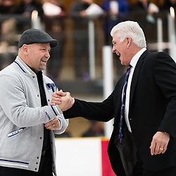 MISSISSAUGA, ON  - JAN 23,  2018: Canadian Junior Hockey League, Prospects Game 2018, CJHL Prospect Team West, Guest Coach Wendel Clark and CJHL Prospect Team East, Guest Coach Rick Vaive shake hands prior to the start of the first period.<br /> (Photo by Kevin Raposo / OJHL Images)