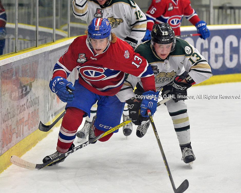 COBOURG, ON  - MAR 4,  2017: Ontario Junior Hockey League, playoff game between the Cobourg Cougars and the Kingston Voyageurs. Kyle Hallbauer #13 of the Kingston Voyageurs and Mathew Busby #13 of the Cobourg Cougars battle along the boards during the first period.<br /> (Photo by Shawn Muir / OJHL Images)