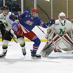 COCHRANE, ON - MAY 2: Maxime Fortin #16 of the Thunder Bay North Stars battles for position in front of the net with Mason Reeves #14 of the Oakville Blades during the first period on May 2, 2019 at Tim Horton Events Centre in Cochrane, Ontario, Canada.<br /> (Photo by Tim Bates / OJHL Images)