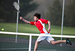 March 25, 2011: Bridgeport's Daniel Ludwig returns the ball against a University player in a singles match at Bridgeport Country Club.  (Photo by: Ben Queen)