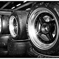 Avon Tyres stacked in the pits, Silverstone Classic 2016, Silverstone Circuit, England. U.K.