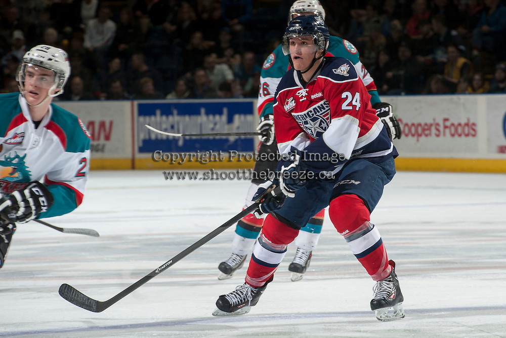 KELOWNA, CANADA - MARCH 8: Jackson Playfair #24 of the Tri-City Americans skates against the Kelowna Rockets on March 8, 2014 at Prospera Place in Kelowna, British Columbia, Canada.   (Photo by Marissa Baecker/Getty Images)  *** Local Caption *** Jackson Playfair;