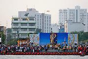 Chao Phraya River. Dragon boat race to celebrate King Bumiphol Adulyadej's Birthday on December 5.