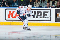 KELOWNA, CANADA - SEPTEMBER 24: Nick Chyzowski #16 of the Kamloops Blazers passes the puck against the Kelowna Rockets on September 24, 2016 at Prospera Place in Kelowna, British Columbia, Canada.  (Photo by Marissa Baecker/Shoot the Breeze)  *** Local Caption *** Nick Chyzowski;